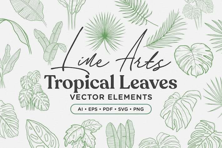 Thumbnail for Tropical Leaves Lineart Vector Elements