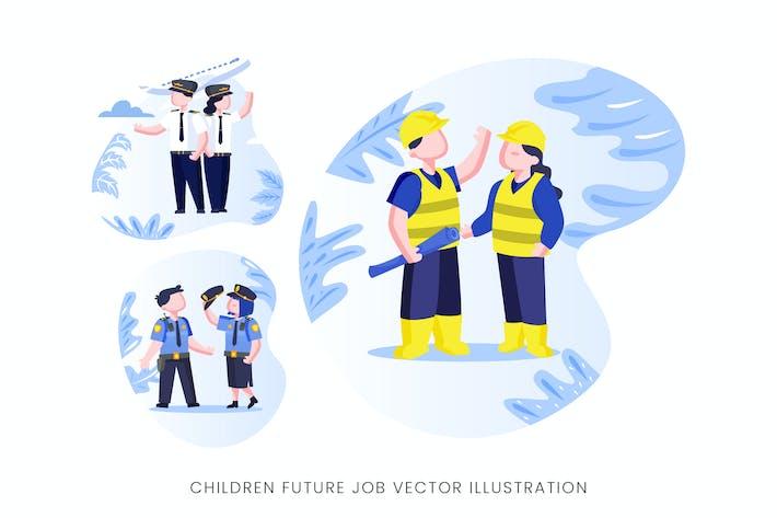 Thumbnail for Children Future Job Vector Character Set