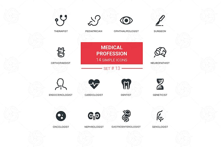 Thumbnail for Medical professions - simple flat design icons set