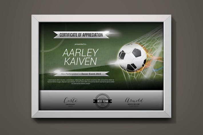 Soccer Football Certificates By Aarleykaiven On Envato Elements