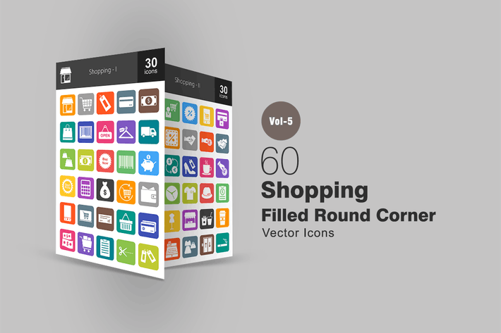 Thumbnail for 60 Shopping Flat Round Corner Icons