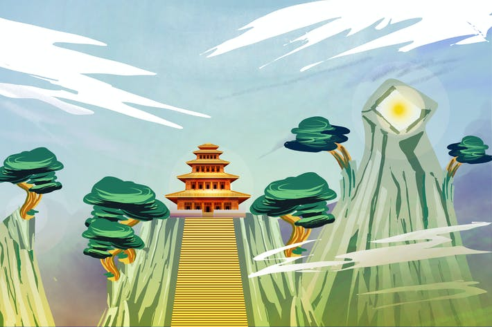 Chinese Temple - Ilustration Background