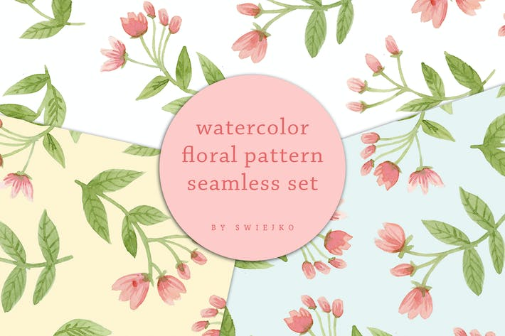 Thumbnail for Delicate Flowers - seamless watercolor pattern set