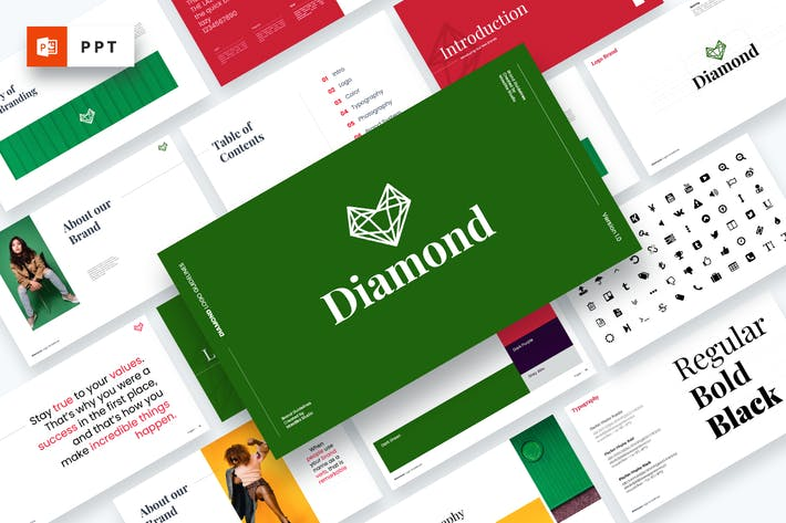 Thumbnail for Diamond - Brand Guidelines Powerpoint Template