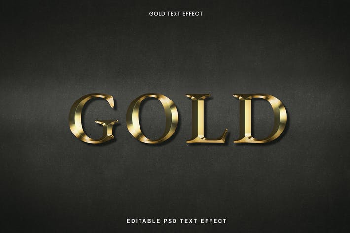 Gold text effect on a black background