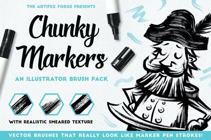 Cover Image For Chunky Markers - Illustrator Brushes