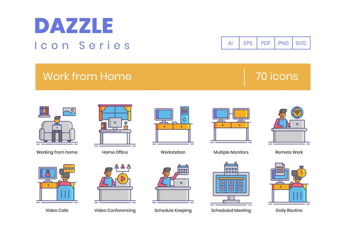 70 Work From Home Line Icons