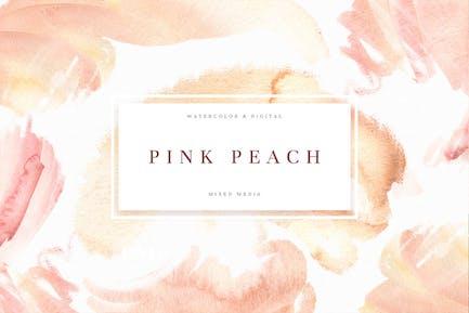 Pink Pfirsich Aquarell Textur