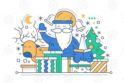 Merry Navidad - ilustración de Diseño de línea