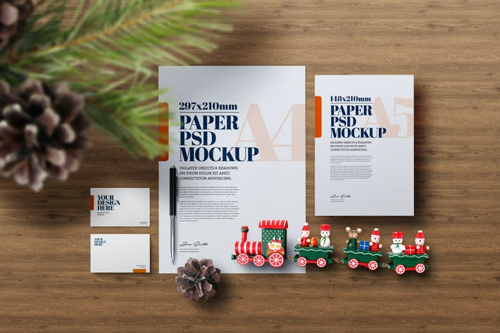 Thumbnail for Christmas Stationery A4 Flyer Wooden Train Mockup
