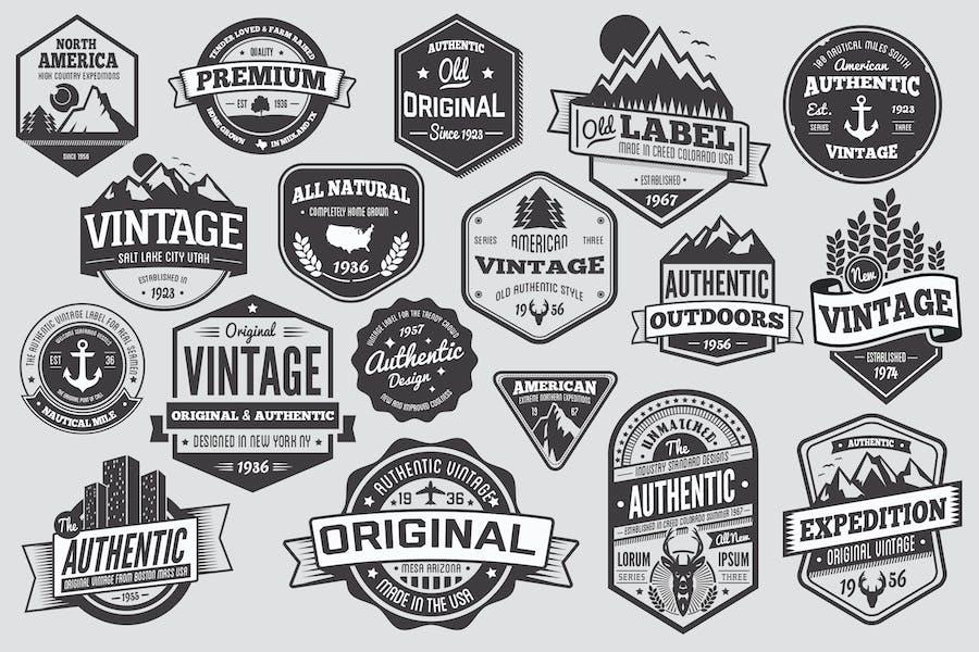 18 Vintage-Abzeichen und Logos