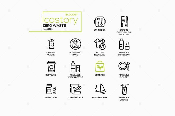 Thumbnail for Zero waste - vector line design style icons set