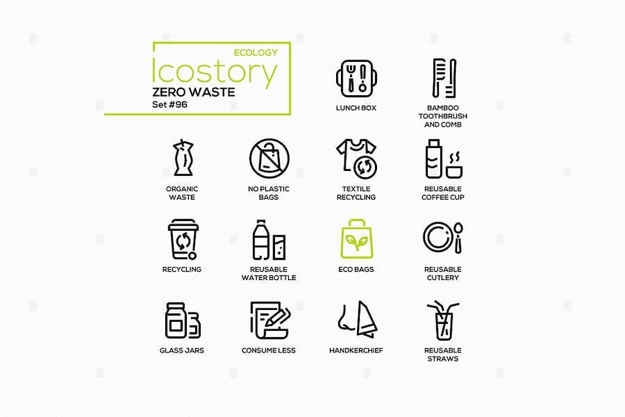 Zero Waste - Vektor linie Design Stil Icons gesetzt