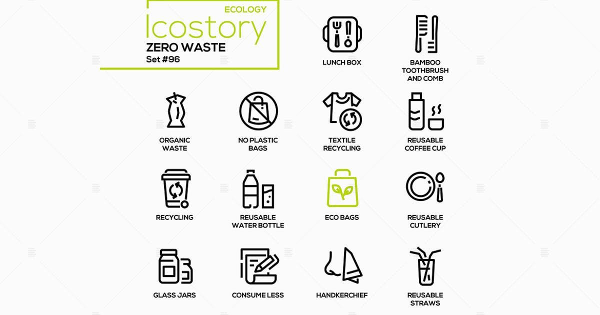 Download Zero waste - vector line design style icons set by BoykoPictures