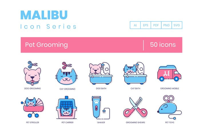 Cover Image For 50 Pet Grooming Icons | Malibu Series