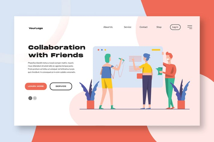 Thumbnail for Collaboration Landing Page / Apps Illustration