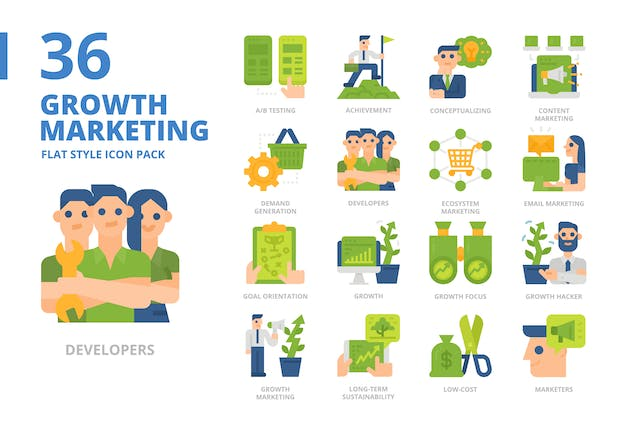 Growth Marketing Flat Style Icon Pack