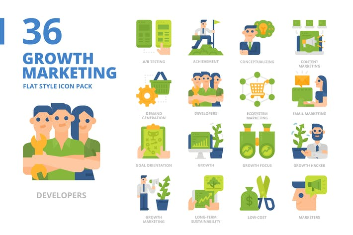 Thumbnail for Wachstumsvermarktung flacher Stil Icon