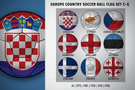 Europa-Länder-Fußball-Flaggen-Set C-G