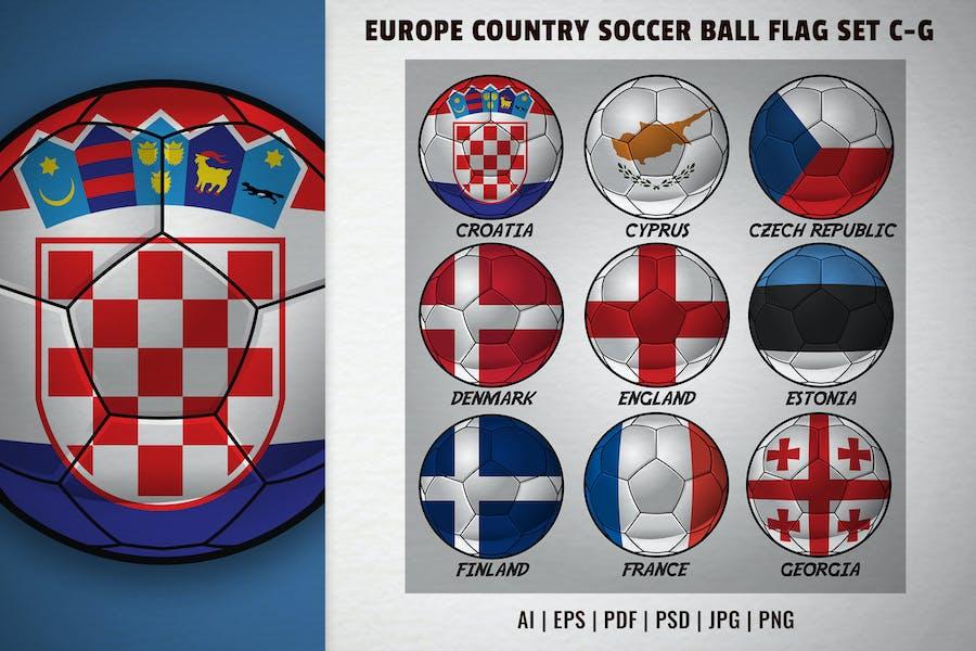 Europe country soccer ball flag set C-G