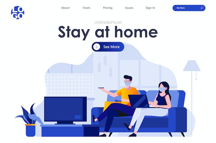 Thumbnail for Stay at Home Landing Page Flat Concept