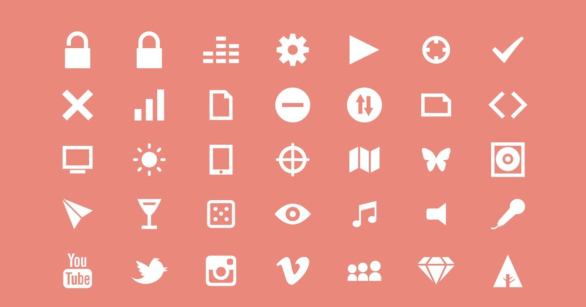 Download White Multipurpose Icons / 3 Different Sheets by Jumsoft