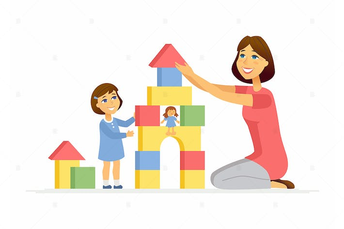 Thumbnail for Mother and daughter playing - vector illustration