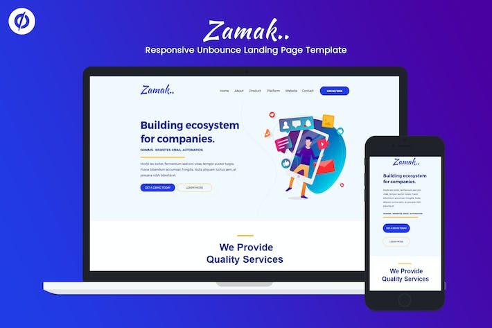 Thumbnail for Zamak – Responsive Unbounce Landing Page Template