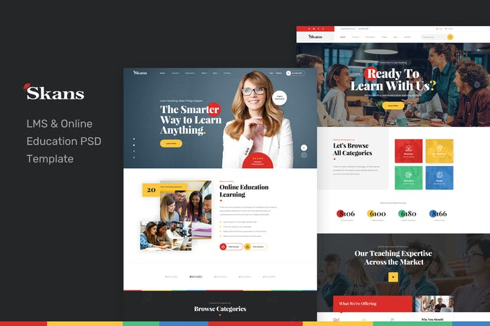 Thumbnail for Skans - LMS & Online Education PSD Template