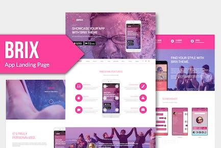BRIX - целевая страница мобильного Приложение Muse Template