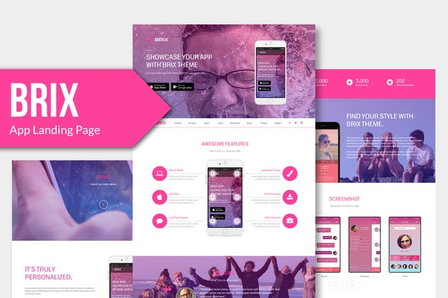 BRIX - Mobile App landing page Muse Template YR - product preview 3