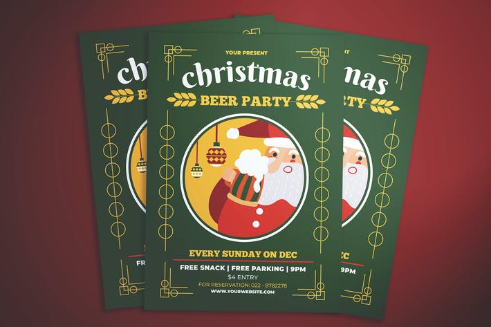Cover Image For Christmas Beer Party Flyer