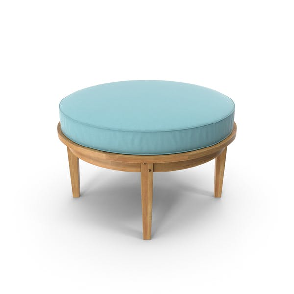 Thumbnail for Round Outdoor Ottoman Teal