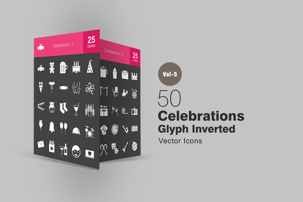 50 Celebrations Glyph Inverted Icons