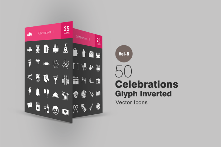 Thumbnail for 50 Celebrations Glyph Inverted Icons