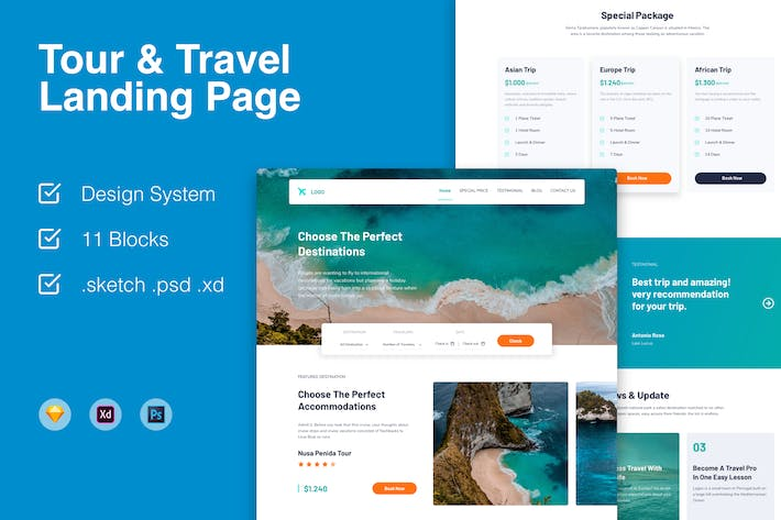 Thumbnail for One Page Travel Landing Page