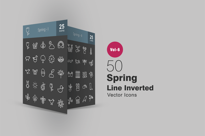Thumbnail for 50 Spring Line Inverted Icons