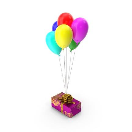 Caja de regalo con globos multicolor