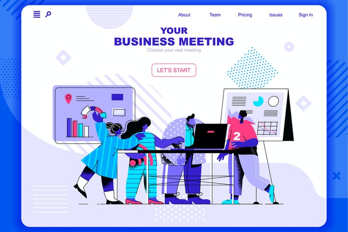 Thumbnail for Business Meeting Flat Concept Landing Page Header