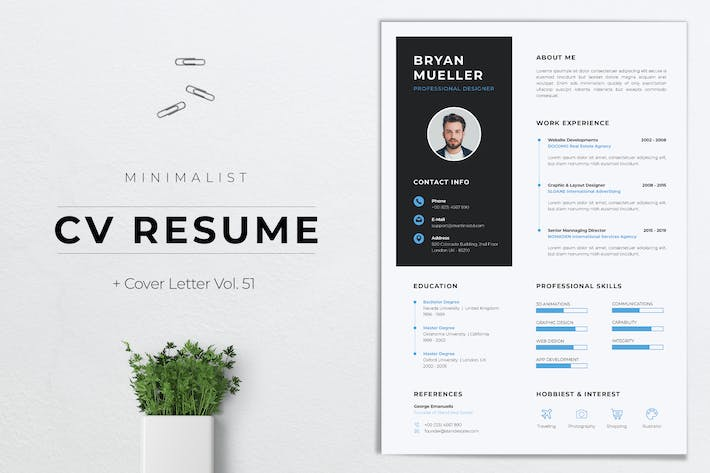 Minimalist CV Resume Vol.51