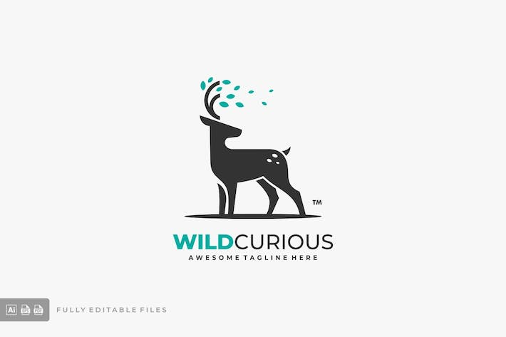 Thumbnail for Deer with Leaves Logo Template