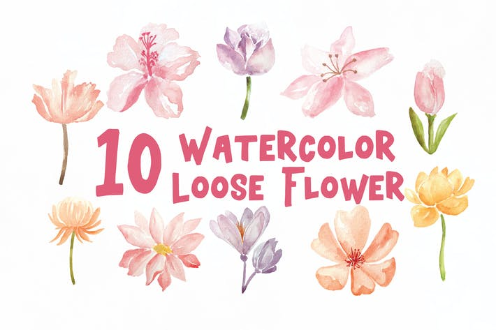 Thumbnail for 10 Watercolor Loose Flowers Illustration Graphics