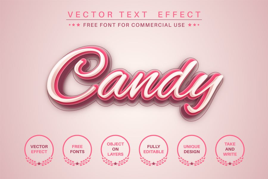Sweet candy- editable text effect, font style
