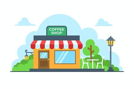 Кофейня Плоская иллюстрация