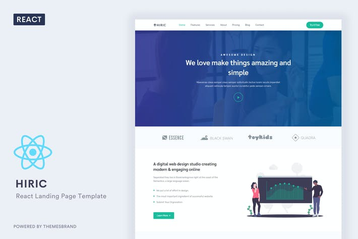 Thumbnail for Hiric - React Landing Page Template