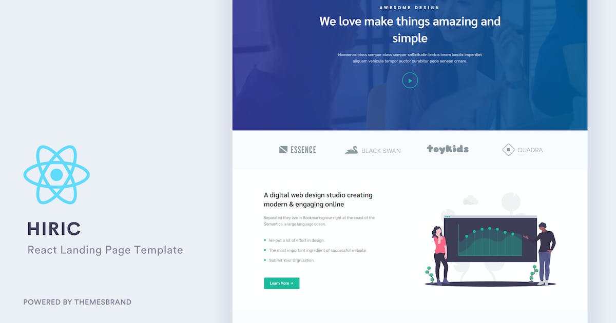 Download Hiric - React Landing Page Template by Themesbrand