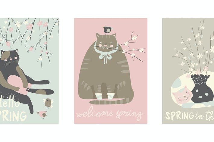 Thumbnail for Vector cartoon set of cute cats with blossom branc
