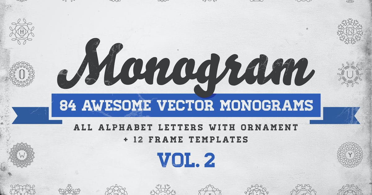 Download Monogram – 84 Vector Monograms + 12 Frame Template by CkyBe