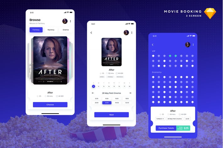 Thumbnail for Cinemaly - Movie Booking Sketch Template