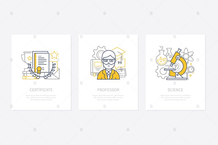 Thumbnail for Certificates, diplomas, awards concept icons set